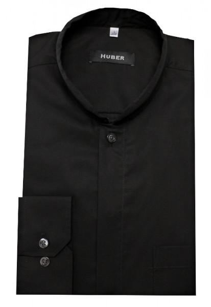 HUBER Stehkragen Hemd schwarz mit Asia Kragen HU-0072 Regular Fit