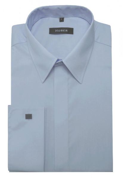 HUBER Umschlag-Manschetten Hemd hellblau HU-0018 Regular