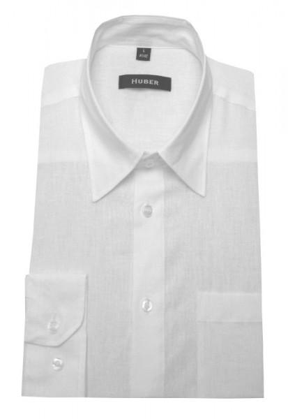 HUBER Leinen Hemd weiß Halbleinen HU-0420 Regular