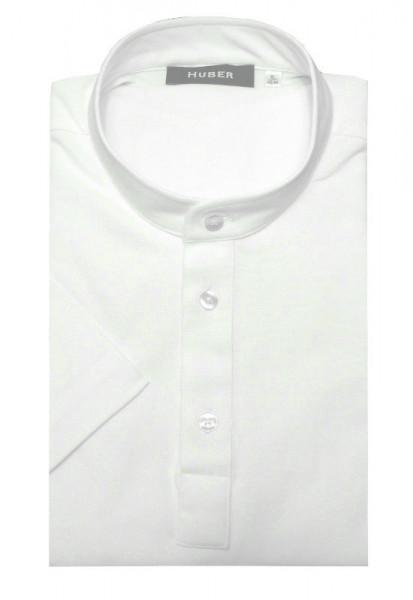 HUBER Stehkragen Poloshirt Kurzarm weiß 100% Baumwolle HU-0201 Regular/Comfort Fit