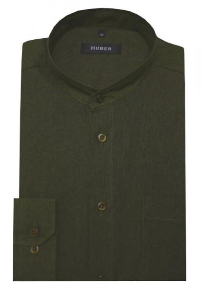 HUBER Stehkragen Hemd olive 100% Leinen HU-0051 Regular
