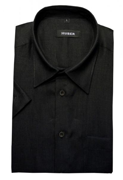 Leinen Hemd schwarz Kurzarm Kent-Kragen von HUBER