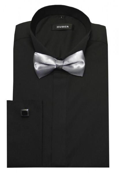 HUBER Smokinghemd schwarz inkl. Fliege silbergrau HU-1022 Regular
