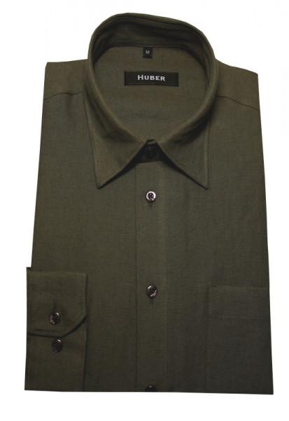 Leinen Hemd oliv grün von HUBER Kentkragen