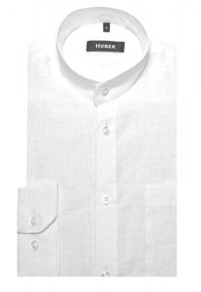 HUBER Stehkragen Hemd weiß feines Leinen nachhaltig HU-0044 Regular Fit