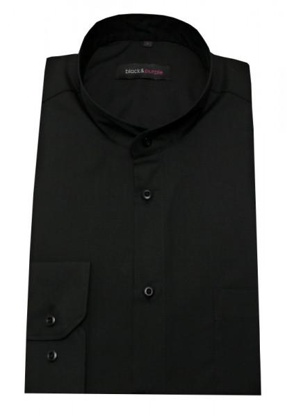 Stehkragen Herren Hemd schwarz Langarm Regular Fit BP-0023