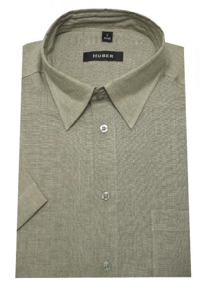 HUBER Leinen Kurzarm Hemd beige dunkel HU-0106 Regular