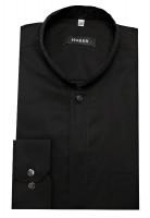 Stehkragen Hemd schwarz von HUBER Asia-Kragen bügelleicht