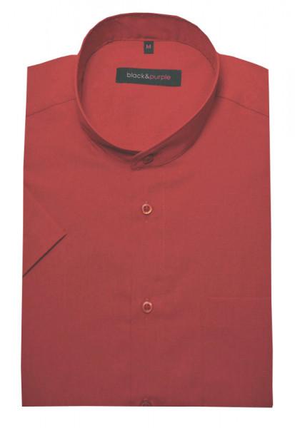 Stehkragen Hemd rot Kurzarm von Black & Purple bügelleicht