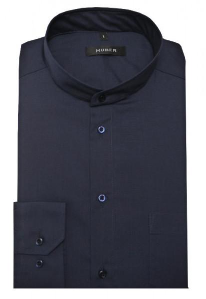 HUBER Stehkragen Hemd dunkelblau marine Regular Fit bügelleicht HU-0654