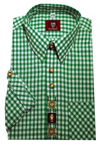 Trachtenhemd von Orbis mit Kentkragen, Krempelarm u. Stickmotiv grün-weiss Baumwollmischung