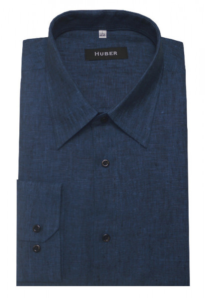 HUBER Hemd blau 100% Leinen nachhaltig HU-0058 Regular