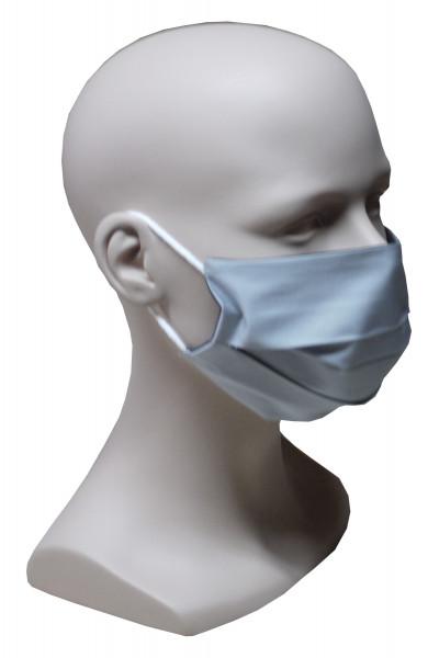 Gesicht Mund Nase Maske silbergrau schwarz feiner Stoff wiederverwendbar HU-7011