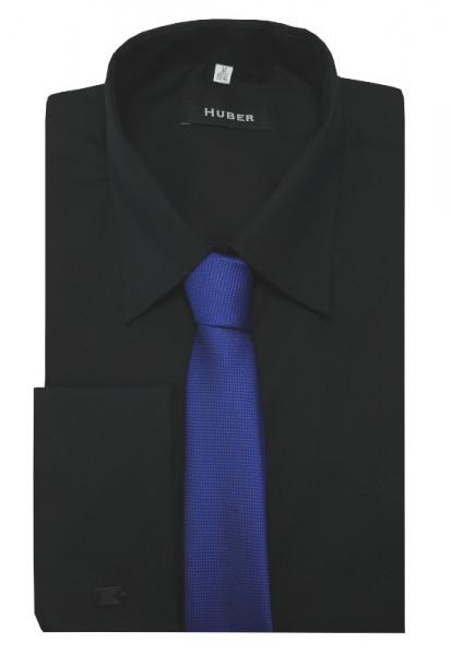 HUBER Umschlag-Manschetten Hemd schwarz inkl.Krawatte blau HU-5212 Regular