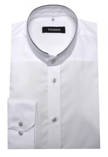 Stehkragen Hemd weiß Kragen Kontrast grau von HUBER