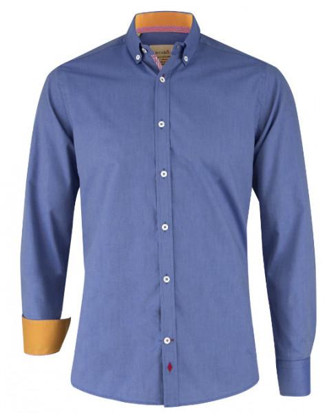 Karokönig Hemd blau aus Bio-Baumwolle zertifiziert KK-0003 Regular tailliert