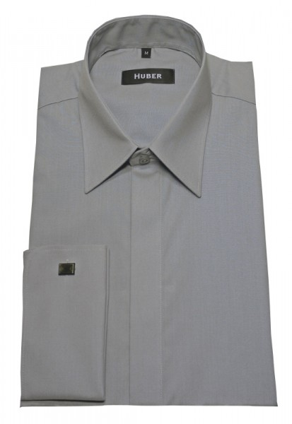 Umschlag-Manschetten Hemd grau von HUBER verdeckte Knopfleiste