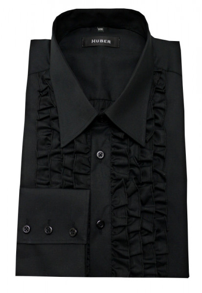 HUBER Rüschen Hemd schwarz bügelleicht HU-0092