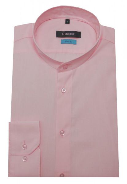 HUBER Stehkragen Hemd rosa HU-0383 Slim Fit