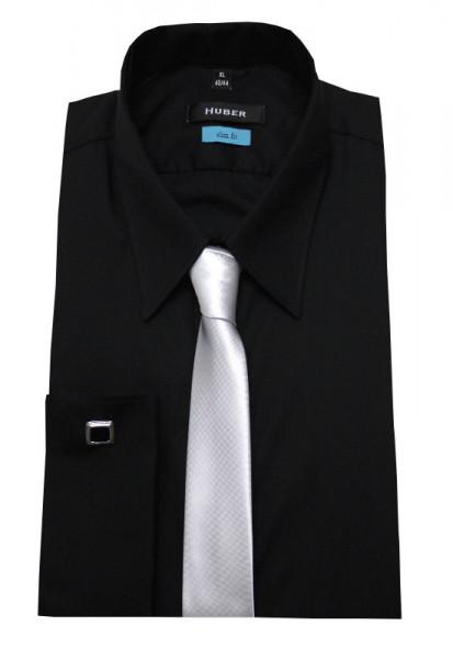 Slim Fit Umschlag-Manschetten Hemd schwarz von HUBER mit Krawatte