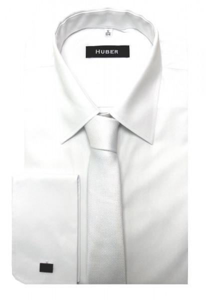 HUBER Umschlag-Manschetten Hemd weiß inkl.Krawatte weiß HU-5411 Regular