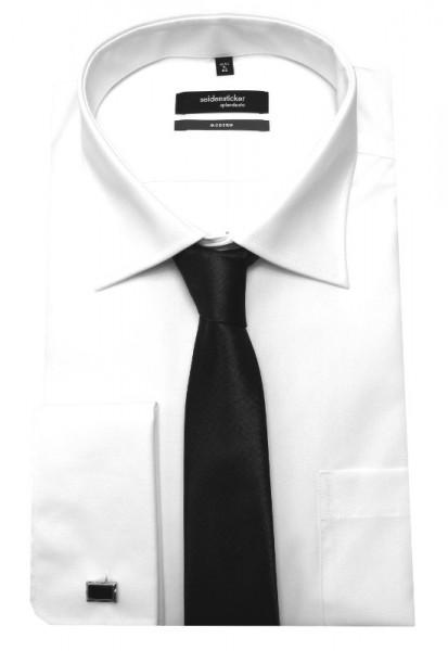 Umschlag-Manschetten Hemd weiß von Seidensticker mit Krawatte und Manschettenknöpfe
