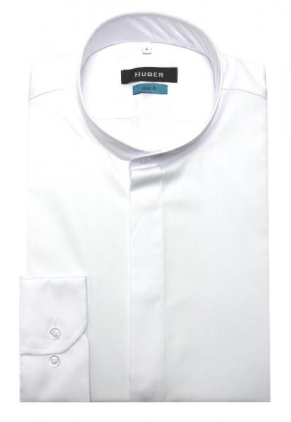 HUBER Stehkragen Hemd weiß verdeckte Knopfleiste HU-0328 Slim Fit