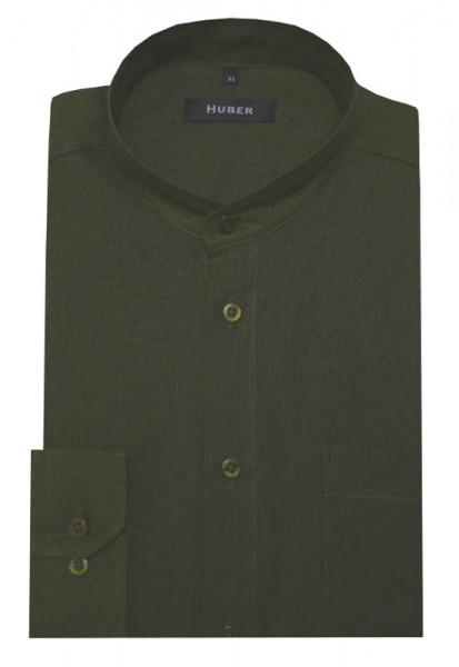 HUBER Stehkragen Leinen Hemd olive HU-0051 Regular