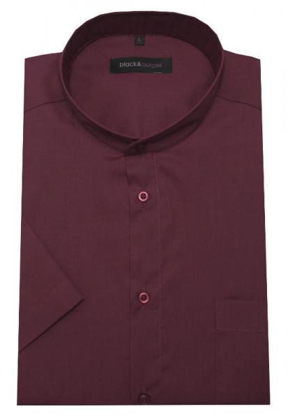 HUBER Stehkragen Hemd weinrot Kurzarm bügelleicht Regular Fit Label Black & Purple HU-0183