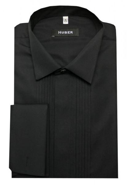 HUBER Smoking Hemd schwarz mit Plissee HU-0172 Regular