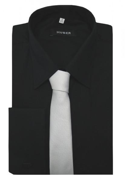 HUBER Umschlag-Manschetten Hemd schwarz inkl. Krawatte weiss HU-5412 Regular