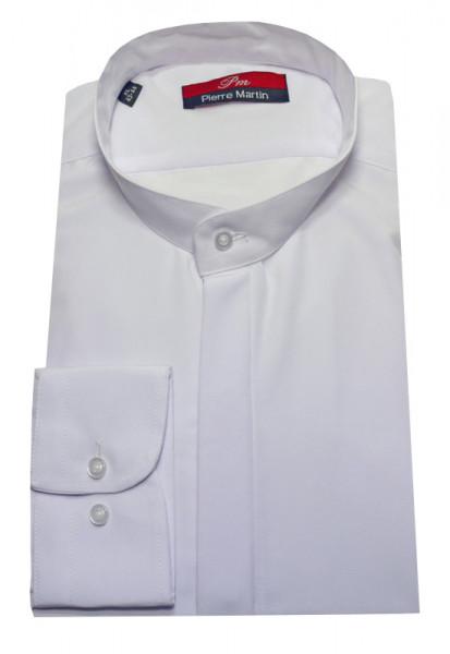 Stehkragen Hemd weiß verdeckter Knopfleiste Pierre Martin
