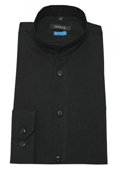 HUBER Stehkragen Leinen Hemd schwarz HU-0392 Slim Fit