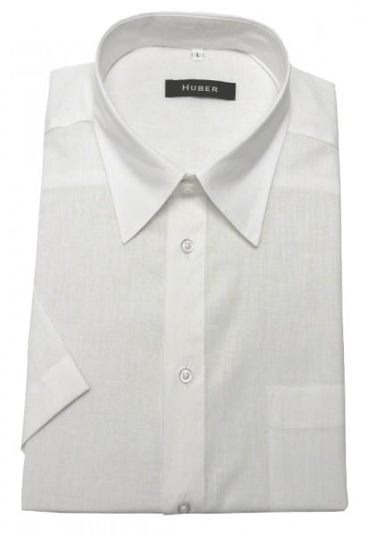 Leinen Hemd weiß Kurzarm von HUBER Leinenmischung