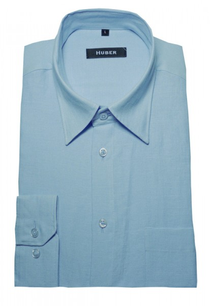 Leinen Hemd blau hellblau von HUBER Kent-Kragen