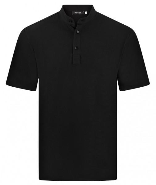 HUBER Poloshirt Stehkragen Kurzarm schwarz 100% Baumwolle HU-0202 Regular/Comfort Fit