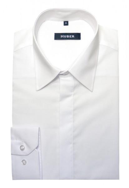 Festliches Hemd weiß verdeckte Knopfleiste von HUBER