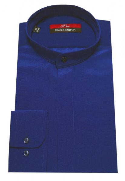 Stehkragen Hemd royal-blau verdeckte Leiste Pierre Martin
