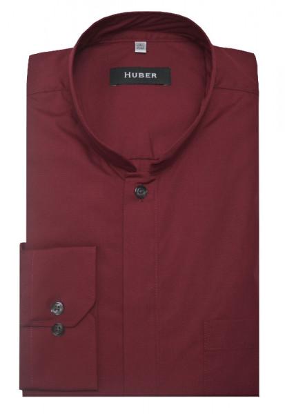 HUBER Stehkragen Hemd weinrot mit Asia Kragen HU-0070 Regular Fit