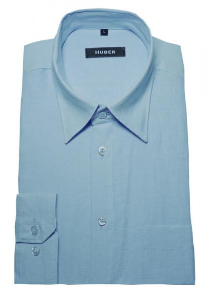 HUBER Hemd blau hellblau 100% Leinen nachhaltig HU-0054 Regular