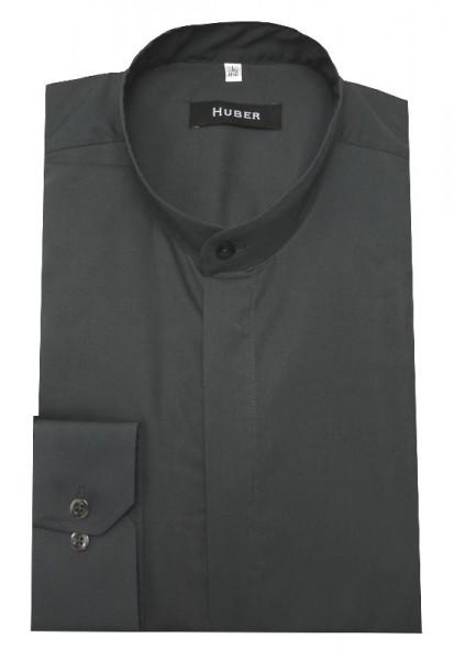 Stehkragen Hemd dunkelgrau verdeckte Knopfleiste von HUBER