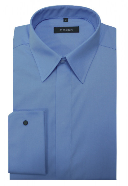 HUBER Umschlag-Manschetten Hemd blau Regular Fit HU-0015
