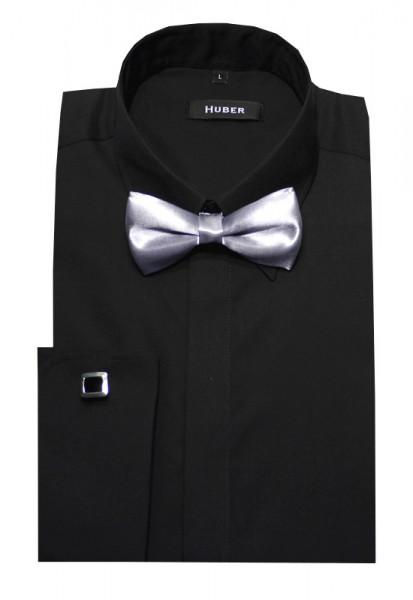 HUBER Umschlag-Manschetten Hemd schwarz inkl.Fliege silbergrau HU-1362 Slim Fit