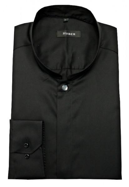 Stehkragen Hemd schwarz von HUBER Asia-Kragen mit Zierknopf