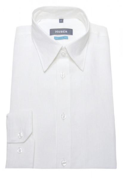 Slim Fit Leinen Hemd weiß Kent-Kragen von HUBER