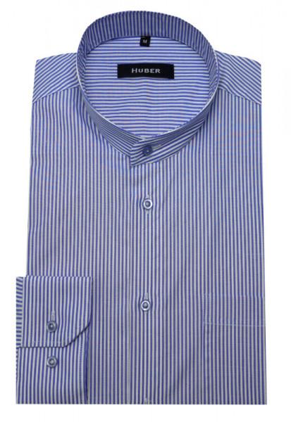 HUBER Stehkragen Hemd weiß blau gestreift HU-0029 Regular