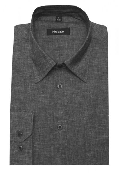 HUBER Leinen Hemd grau meliert Halbleinen HU-0422 Regular