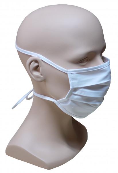 5 Stück Premium Mund Nase Maske mit Bindeband weiß waschbar HU-8205