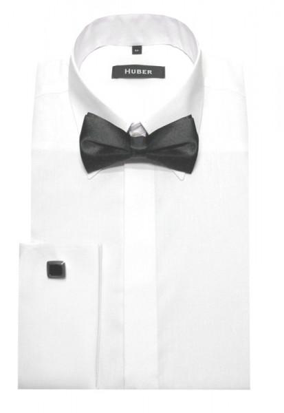 HUBER Umschlag-Manschetten Hemd weiß+Fliege+Mansch.knöpfe HU-2011 Regular