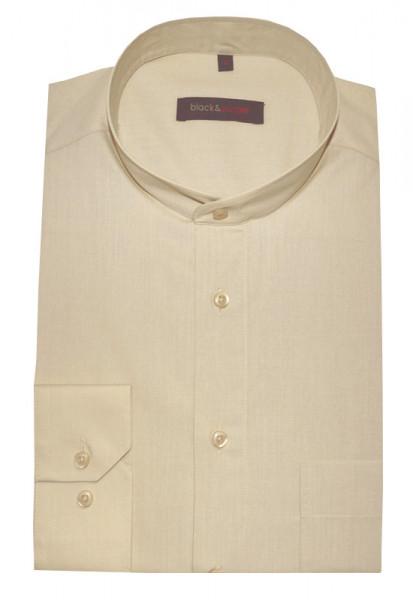 Stehkragen Herren Hemd beige camel Langarm Regular Fit BP-0031